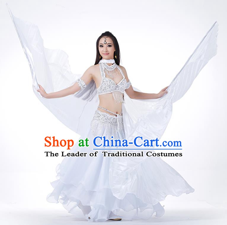 Indian Traditional Belly Dance White Wings India Raks Sharki Props for Women