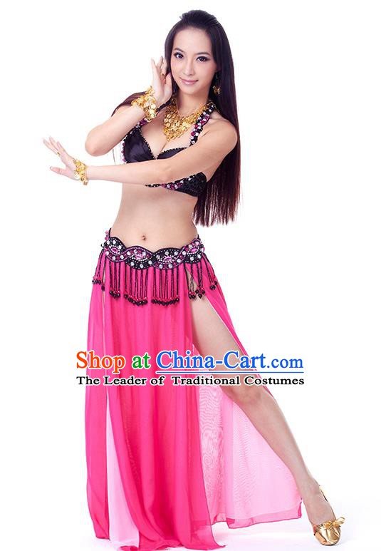 Traditional Indian Belly Dance Rosy Dress India Oriental Dance Clothing for Women