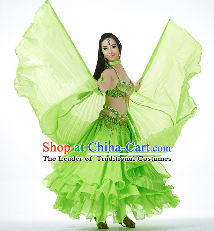 Indian Traditional Belly Dance Green Wings India Raks Sharki Props for Women