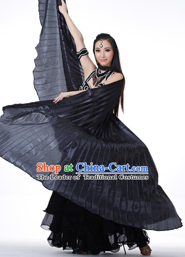 Indian Traditional Belly Dance Black Wings India Raks Sharki Props for Women