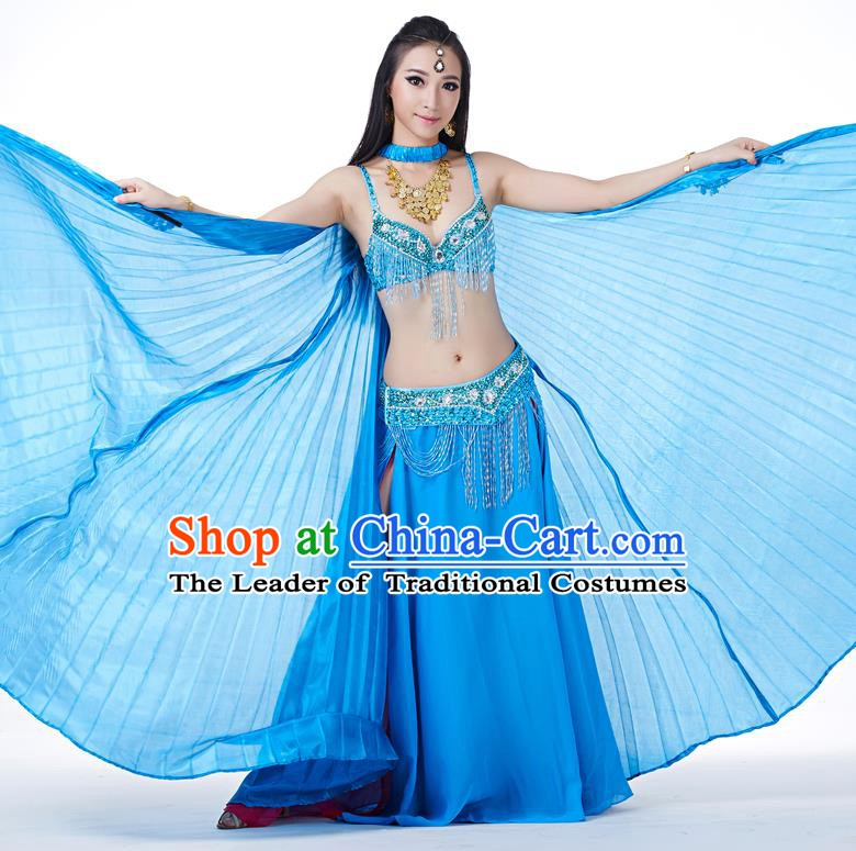 Indian Traditional Belly Dance Blue Wings India Raks Sharki Props for Women