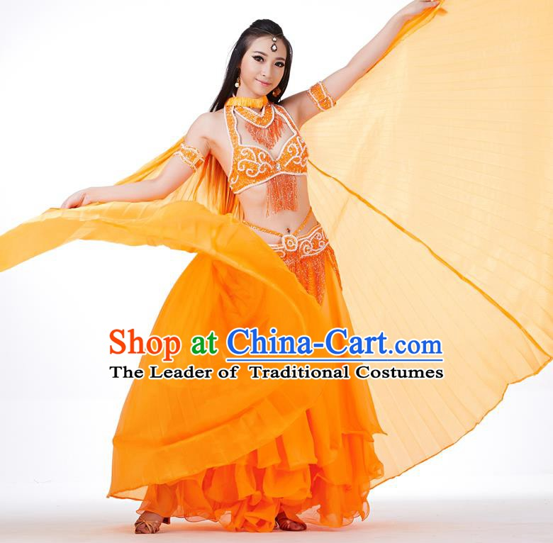 Indian Traditional Belly Dance Orange Wings India Raks Sharki Props for Women