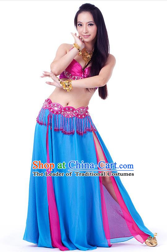 Traditional Indian Belly Dance Blue Dress India Oriental Dance Clothing for Women