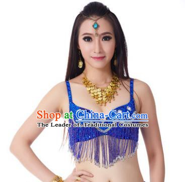 Indian Belly Dance Crystal Royalblue Brassiere Asian India Oriental Dance Costume for Women