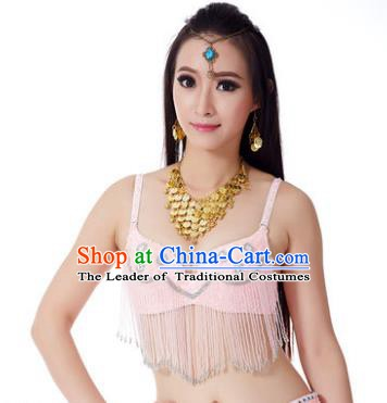 Indian Belly Dance Crystal Pink Brassiere Asian India Oriental Dance Costume for Women