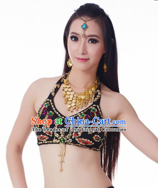 Indian Belly Dance Black Brassiere Upper Outer Garment Asian India Oriental Dance Costume for Women