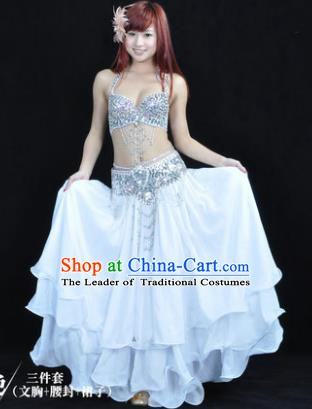 Traditional Indian Bollywood Belly Dance White Dress India Oriental Dance Costume for Women