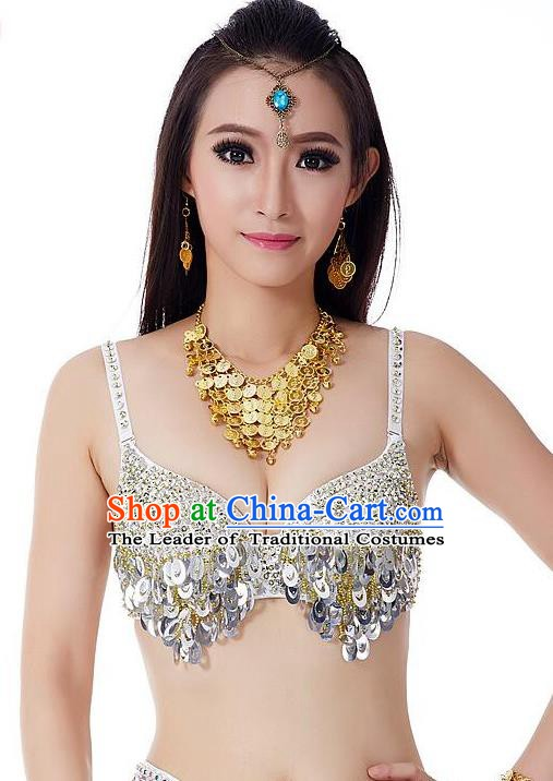 Indian Bollywood Belly Dance Argentate Sequin Brassiere Asian India Oriental Dance Costume for Women