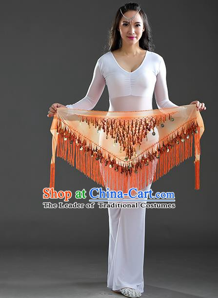 Indian Belly Dance Orange Sequin Fichu Scarf Belts India Raks Sharki Waistband for Women