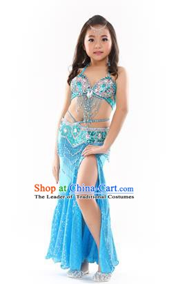 Traditional Indian Children Performance Oriental Dance Blue Dress Belly Dance Costume for Kids