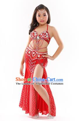Traditional Indian Children Performance Oriental Dance Red Dress Belly Dance Costume for Kids