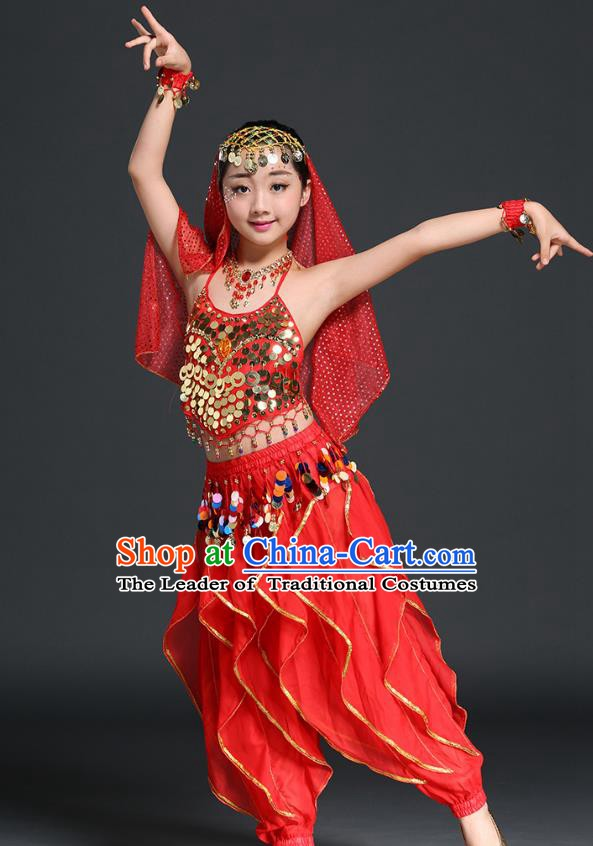 97a23f159 Traditional Indian Children Performance Red Uniforms Oriental Belly Dance  Costume for Kids