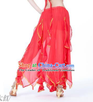 Traditional Indian Belly Dance Red Ruffled Skirt India Oriental Dance Costume for Women