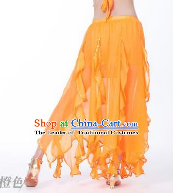 Traditional Indian Belly Dance Orange Ruffled Skirt India Oriental Dance Costume for Women