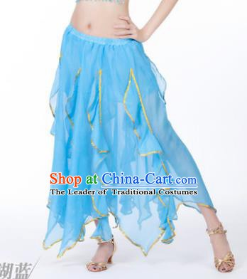 Traditional Indian Belly Dance Blue Ruffled Skirt India Oriental Dance Costume for Women