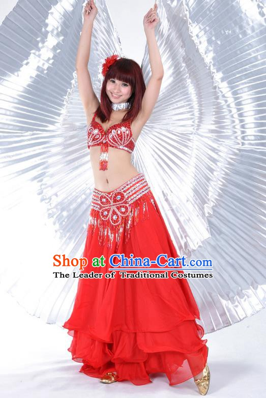 Indian Belly Dance Stage Performance Costume, India Oriental Dance Red Dress for Women