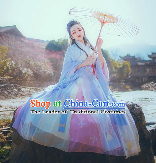Chinese Ancient Jin Dynasty Princess Embroidered Costumes Cardigan Complete Set for Women
