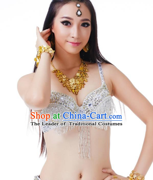 Traditional Belly Dance White Tassel Brassiere Upper Outer Garment Indian Oriental Dance Costume for Women