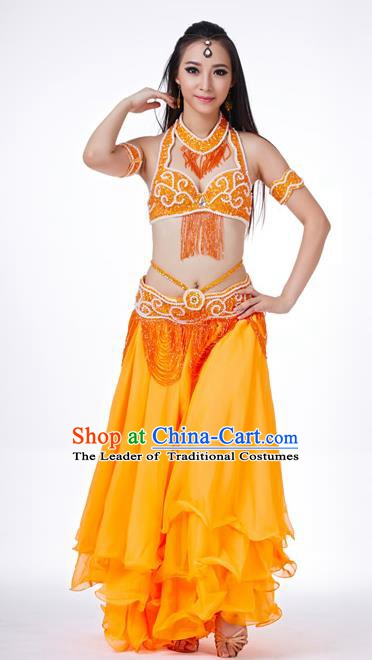 93fa99ed13be Traditional Oriental Dance Costume Indian Belly Dance Orange Dress for Women