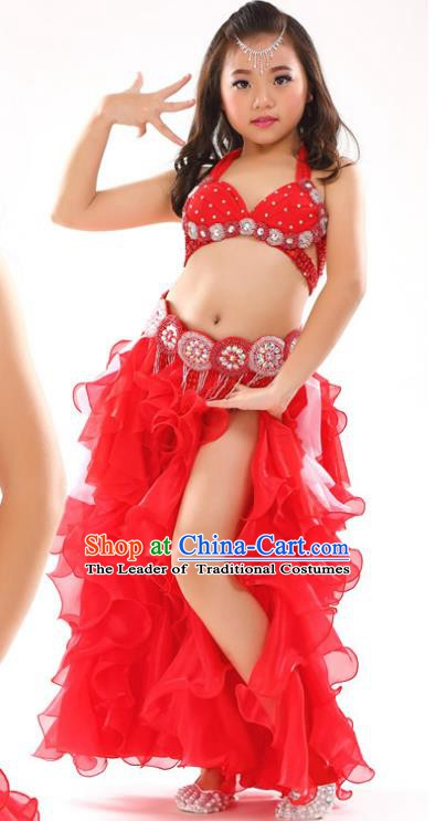 Traditional Children Oriental Dance Costume Indian Belly Dance Red Dress for Kids