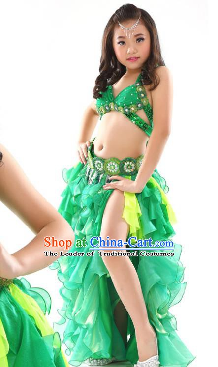 Traditional Children Oriental Dance Costume Indian Belly Dance Green Dress for Kids