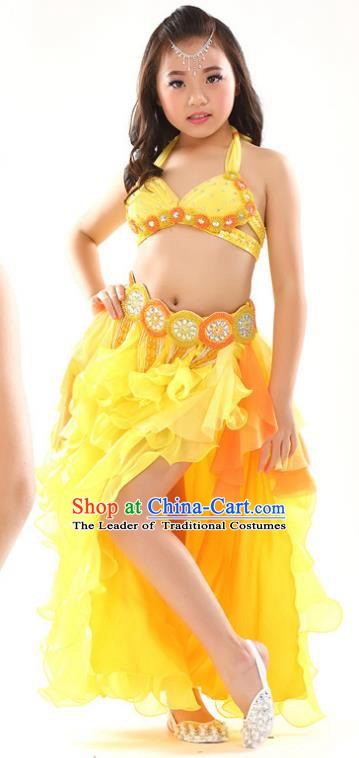 Traditional Children Oriental Dance Costume Indian Belly Dance Yellow Dress for Kids