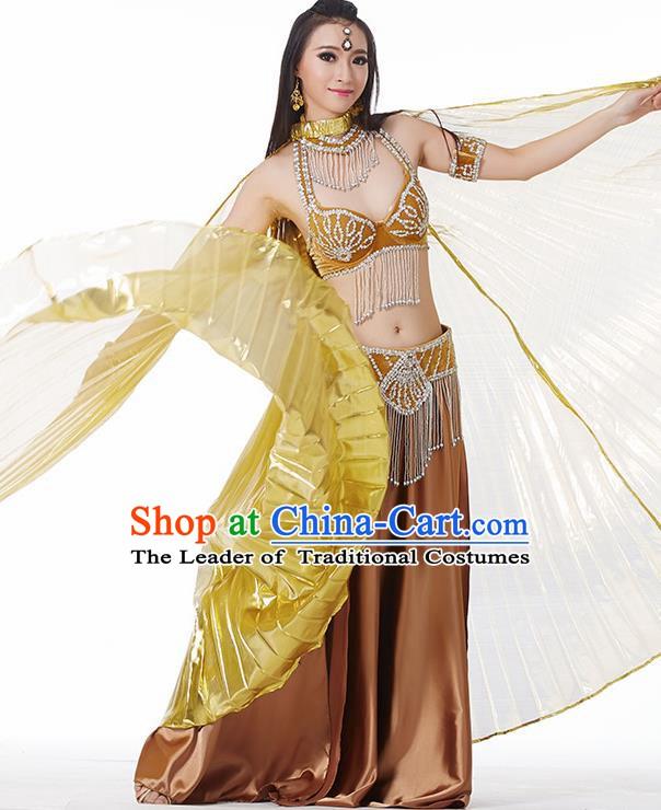 53028a813c14 Traditional India Oriental Bollywood Dance Velvet Costume Indian Belly  Dance Golden Dress for Women