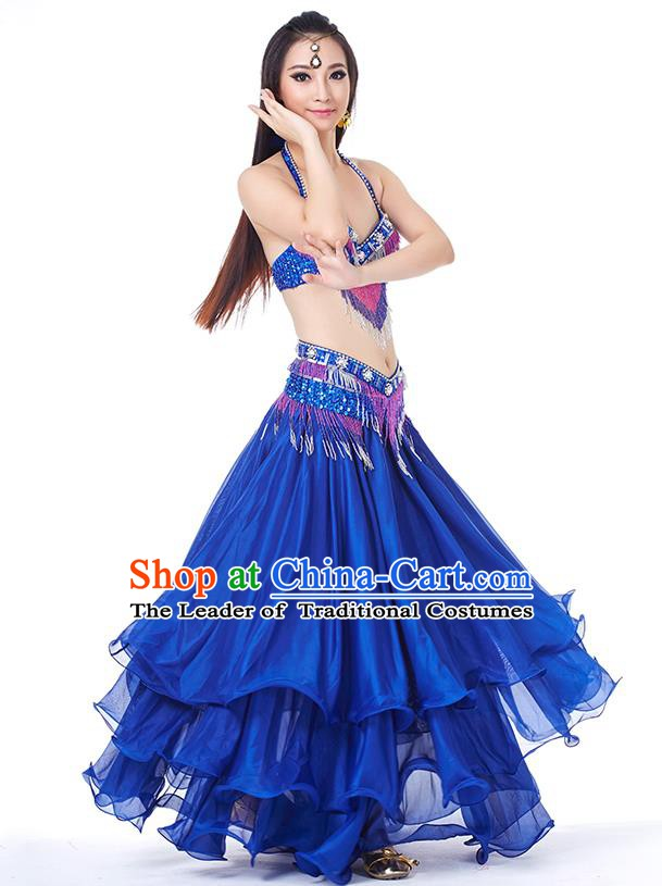 Traditional Oriental Bollywood Dance Costume Indian Belly Dance Royalblue Dress for Women