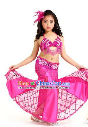 Traditional Children Oriental Bollywood Dance Costume Indian Belly Dance Rosy Dress for Kids