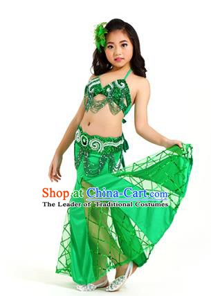 Traditional Children Oriental Bollywood Dance Costume Indian Belly Dance Green Dress for Kids