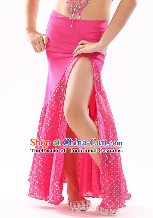 Traditional India Oriental Bollywood Dance Rosy Skirt Indian Belly Dance Costume for Kids