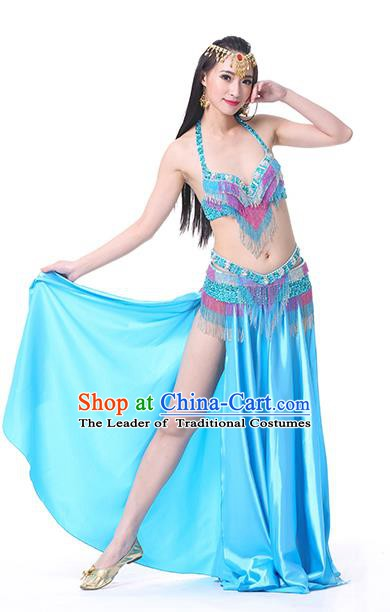 Indian Traditional Oriental Bollywood Dance Blue Dress Belly Dance Sexy Costume for Women
