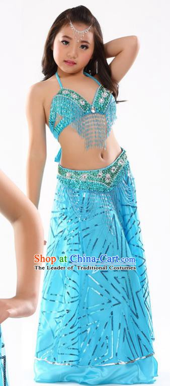 Traditional Indian Children Oriental Dance Blue Dress Belly Dance Costume for Kids