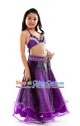 7de906823c Indian Traditional Stage Performance Dance Purple Dress Belly Dance Costume  for Kids
