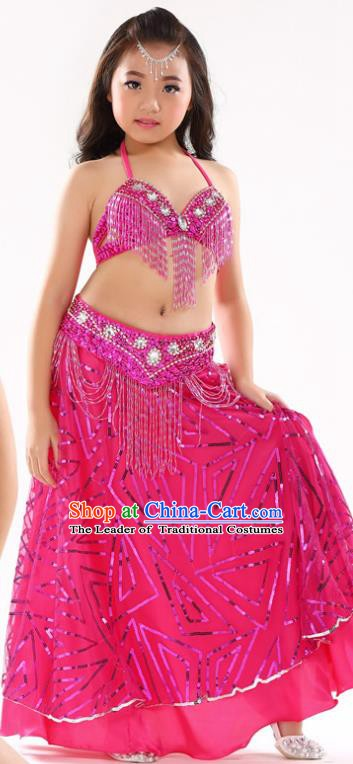 Traditional Indian Children Oriental Dance Rosy Dress Belly Dance Costume for Kids