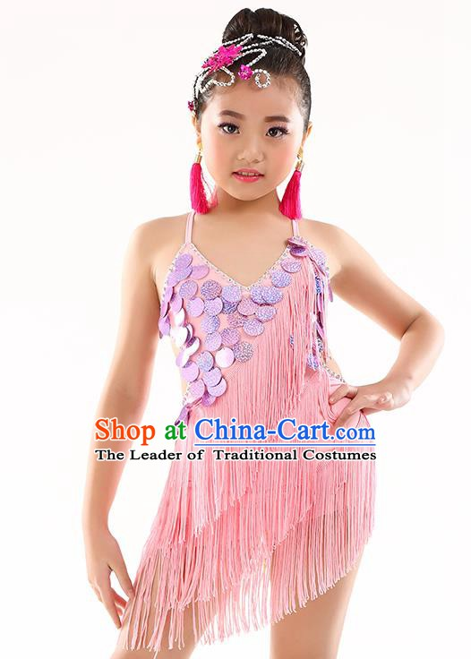 Traditional Children Stage Performance Latin Dance Pink Dress Modern Dance Costume for Kids