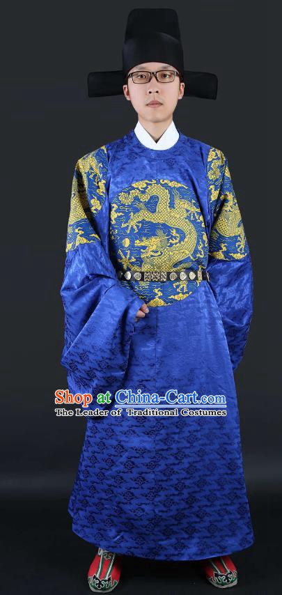 Chinese Ming Dynasty Court Minister Costumes Ancient Chancellor Embroidered Blue Robe for Men