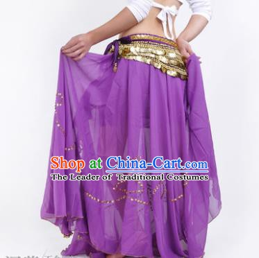 Indian Belly Dance Stage Performance Costume, India Oriental Dance Purple Skirt for Women