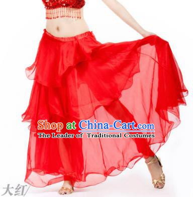 Indian Belly Dance Stage Performance Costume, India Oriental Dance Red Spiral Skirt for Women
