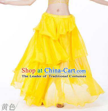 Indian Belly Dance Stage Performance Costume, India Oriental Dance Yellow Spiral Skirt for Women