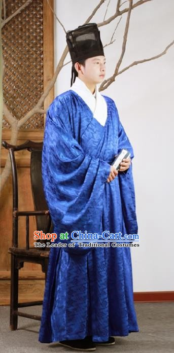 Chinese Ancient Ming Dynasty Scholar Hanfu Clothing Blue Long Robe for Men