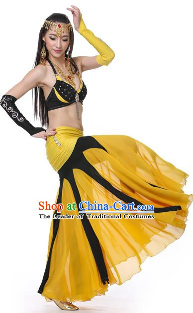 Asian Indian Bollywood Belly Dance Costume Stage Performance Oriental Dance Black and Yellow Dress for Women