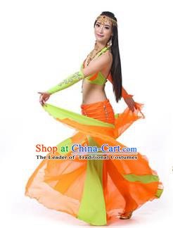 Asian Indian Bollywood Belly Dance Costume Stage Performance Oriental Dance Green and Orange Dress for Women