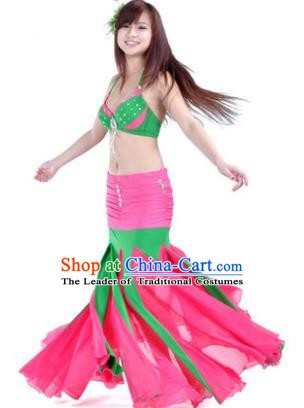 Asian Indian Belly Dance Stage Performance Costume Oriental Dance Pink and Green Dress for Women