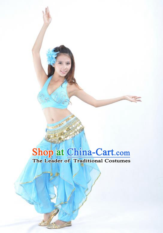 Asian Indian Traditional Costume Belly Dance Stage Performance Oriental Dance Blue Clothing for Women