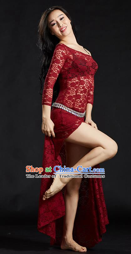 Asian Indian Traditional Costume Belly Dance Stage Performance Red Lace Dress for Women