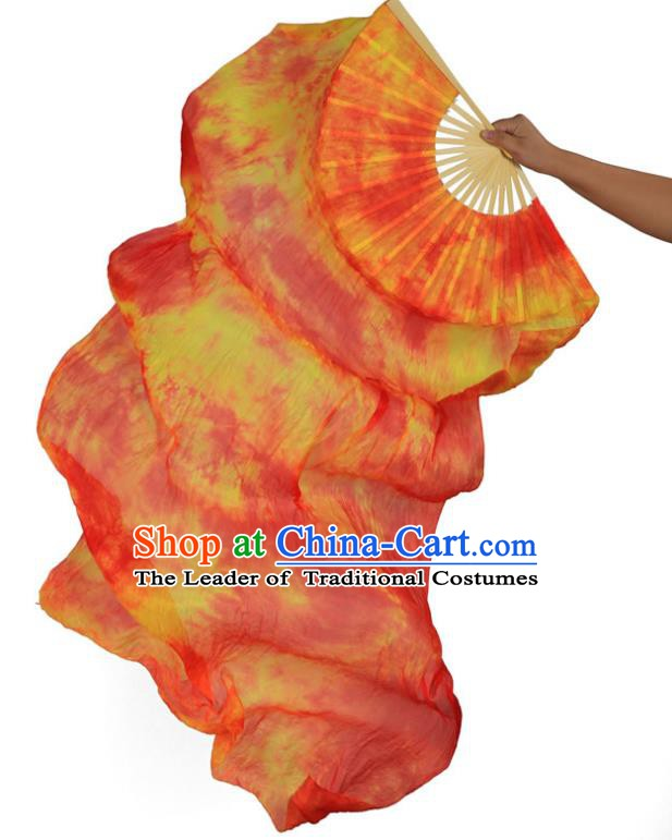 Indian Belly Dance Props Orange Silk Folding Fans Stage Performance Dance Fan for Women