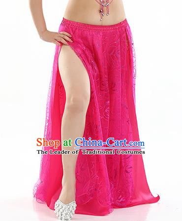 Asian Indian Belly Dance Costume Rosy Rose Skirt Stage Performance Oriental Dance Dress for Women