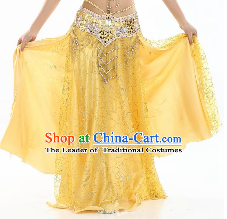 Asian Indian Belly Dance Costume Yellow Rose Skirt Stage Performance Oriental Dance Dress for Women