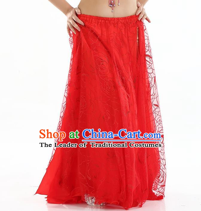 Asian Indian Belly Dance Costume Red Rose Skirt Stage Performance Oriental Dance Dress for Women